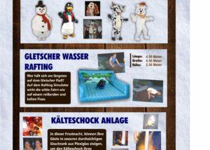 Winter Aktionen Paradekostüme Geltscherwasser Rafting Kälteschock anlage Fun Production GmbH